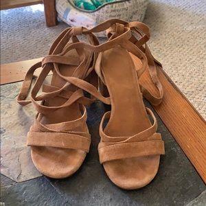 Suede wrap block heel